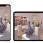 'A mockup of the Vortic Curate App showing a VR representation or Grayson Perry's exhibition Super Rich Interior Decoration at Victoria Miro. All works © Grayson Perry, courtesy Victoria Miro
