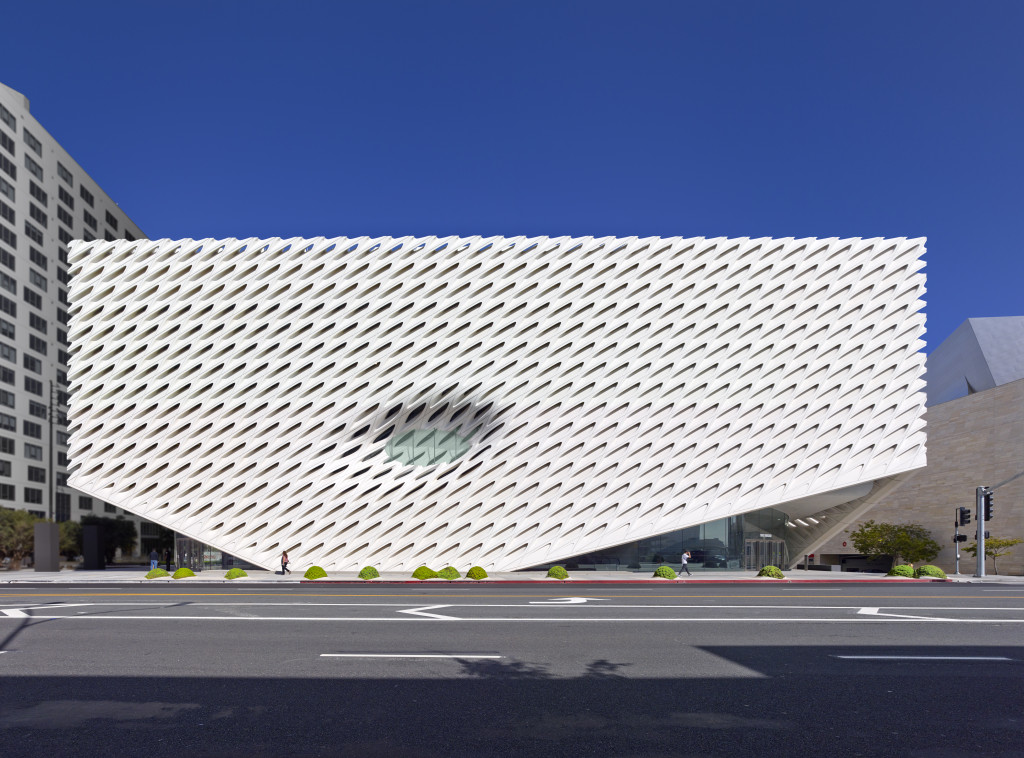 The Broad museum on Grand Avenue in downtown Los Angeles; photo by Benny Chan, courtesy of The Broad and DIller Scofidio + Renfro