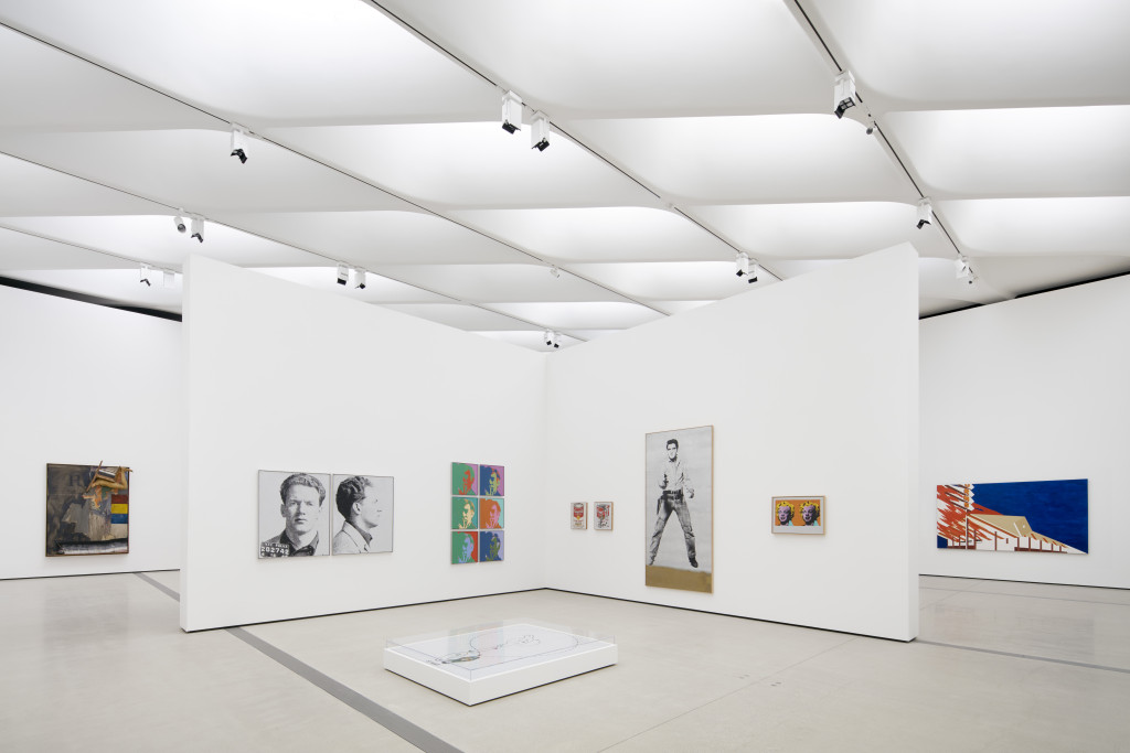 Installation of works by Robert Rauschenberg, Andy Warhol and Ed Ruscha in The Broad's third-floor galleries; photo by Bruce Damonte, courtesy of The Broad and Diller Scofidio + Renfro