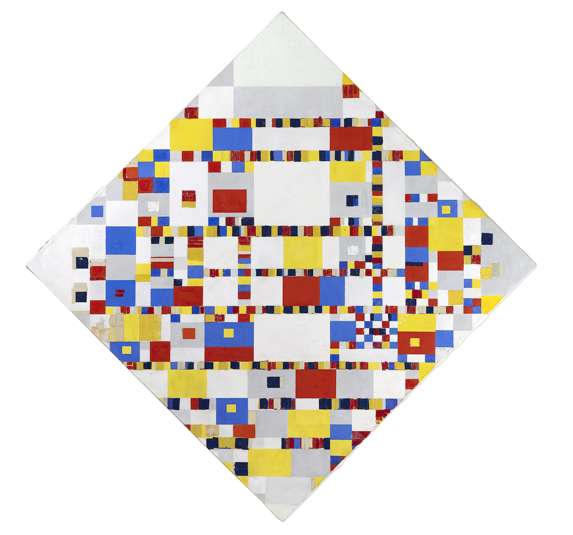 Piet Mondrian Victory Boogie Woogie 1942-1944 Oil, tape, paper, charcoal and pencil on canvas 127.5 x 127.5 cm Gemeentemuseum Den Haag Loan Cultural Heritage Agency of the Netherlands