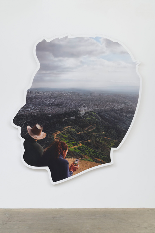 Self-Portrait (Griffith Observatory), 2017  Acrylic and bondo on fiberglass  96 x 84 x 4 in (243.8 x 213.4 x 10.2 cm)   © Alex Israel - Photo: Jeff McLane Courtesy Gagosian