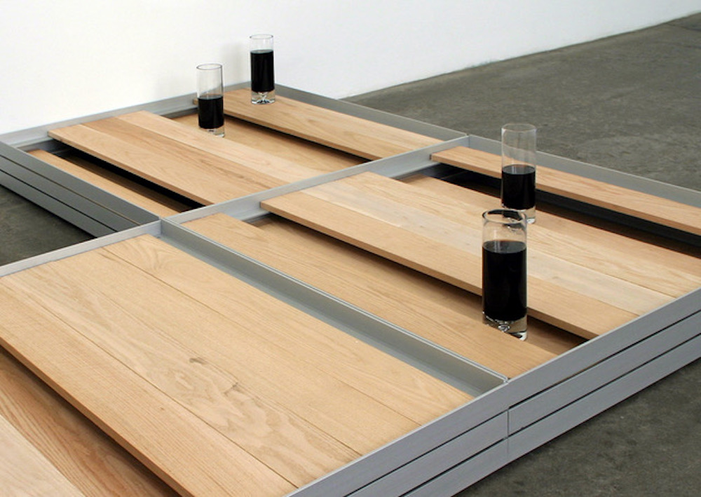 Liam Gillick follow Literally No Place Barfloor, 2000 aluminum, oak planks, 4 glasses, Pepsi © Liam Gillick Courtesy Casey Kaplan, New York