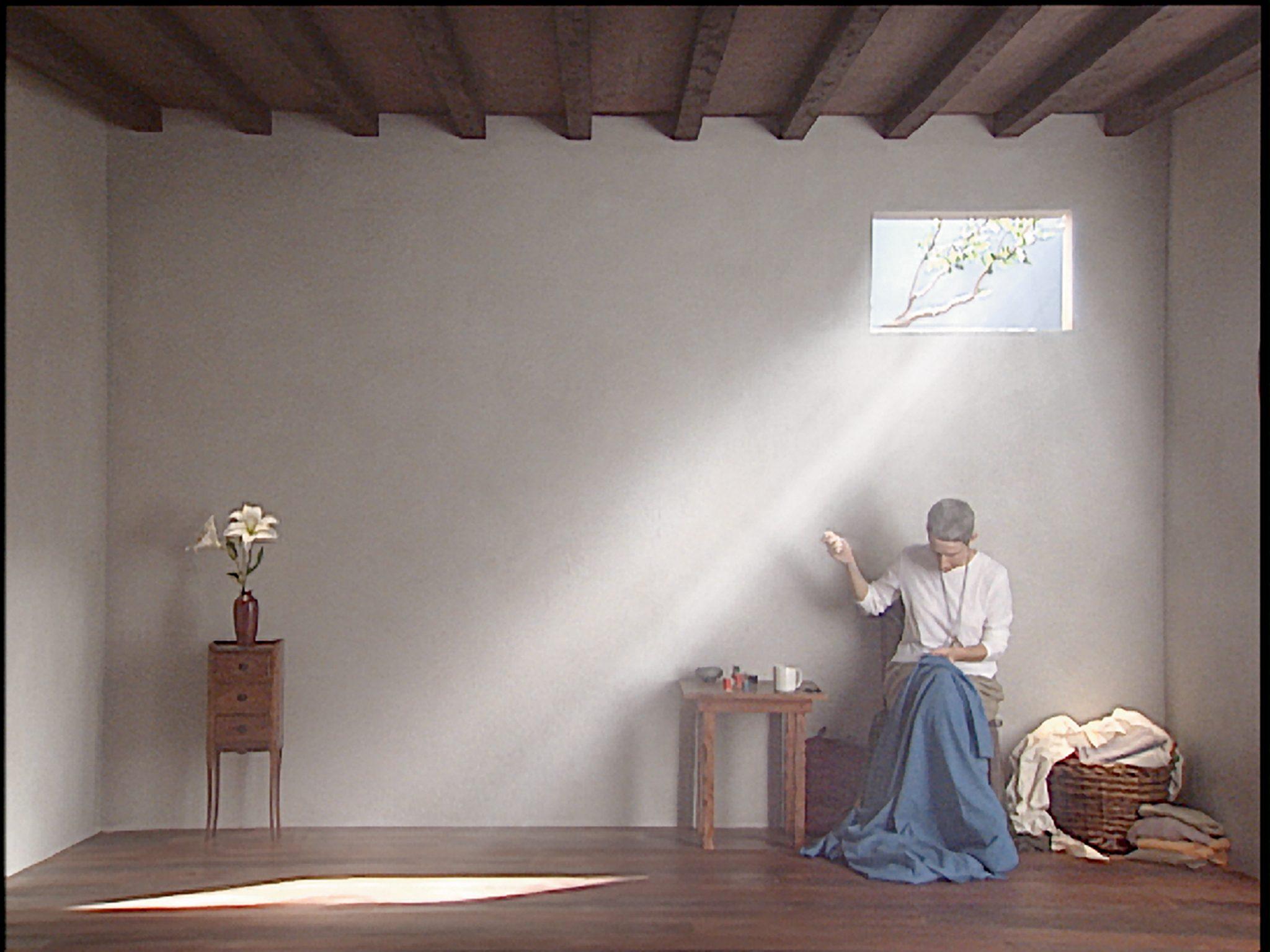 Catherine's Room, 2001  Color video polyptych on five flat panel  displays  18:39 minutes  Performer: Weba Garretson  Courtesy Bill Viola Studio  © Bill Viola  Photo: Kira Perov