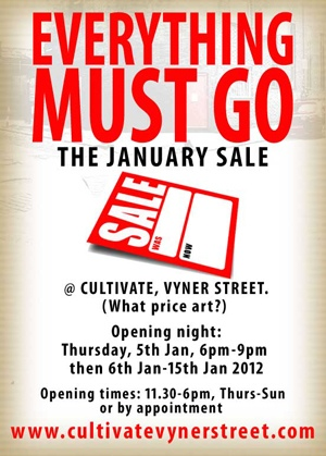 20120104 103912 EVERYTHING MUST GO, two week January Sale at Cultivate, What Price Art? Art