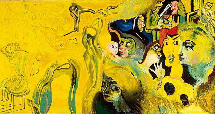 György Kovásznai, Large Yellow Composition, 1983, oil on canvas, 150 × 300 cm, unsigned. Courtesy of Kovásznai Research Foundation.