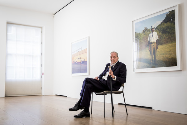 "Photographer William Eggleston poses during a photocall for his new exhibition ""2 1/4"" at David Zwirner on April 10, 2019 in London, England. (April 9, 2019 - Source:"