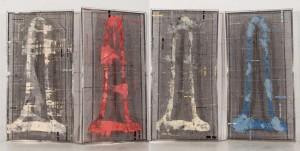 23_cuatro estudios de sonajero chino, 2011, oil on steel mesh, 205x440cm