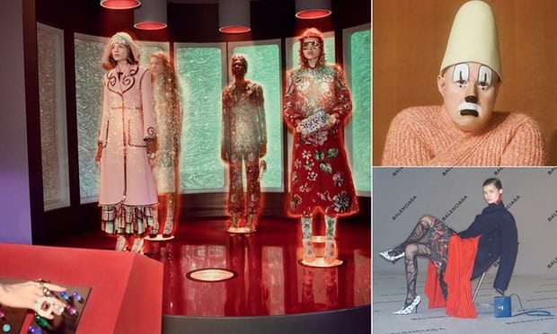 From left: inside Gucci's spaceship, Matt Lucas for Kenzo and Balenciaga's boardroom campaign.