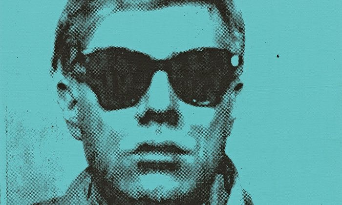 Detail from Andy Warhol's first self-portrait from 1963, which has been in a personal collection since the 1980s. Photograph: Sotheby's/PA