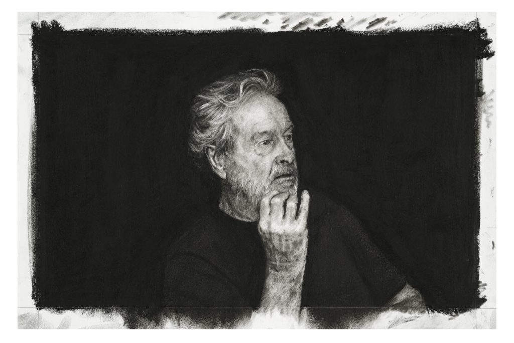 Sir (Ridley Scott) Charcoal on paper 29 x 44 cm By Nina Mae Fowler, 2019