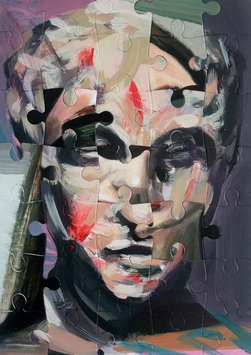 Darren Coffield Bust, 2015 acrylic on die-cut board 42x32cm