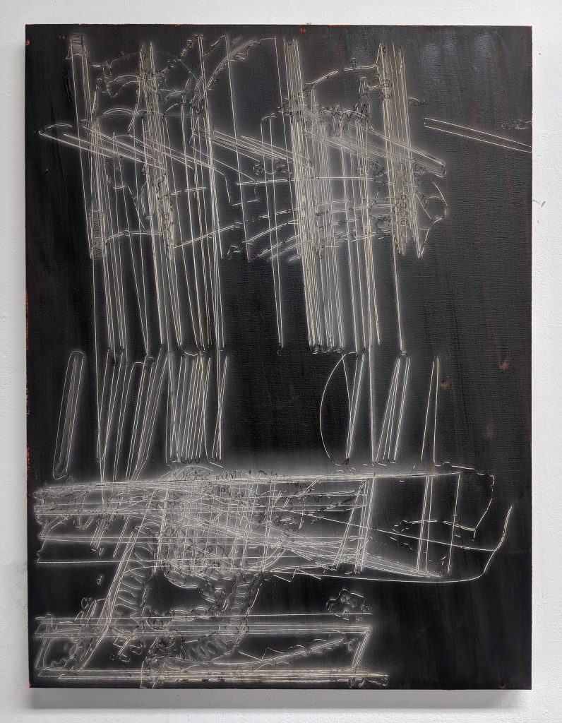 Enteric System??Ed Compson 2020 Oil and laser etching on linen 70 x 90 cm FAD MAGAZINE