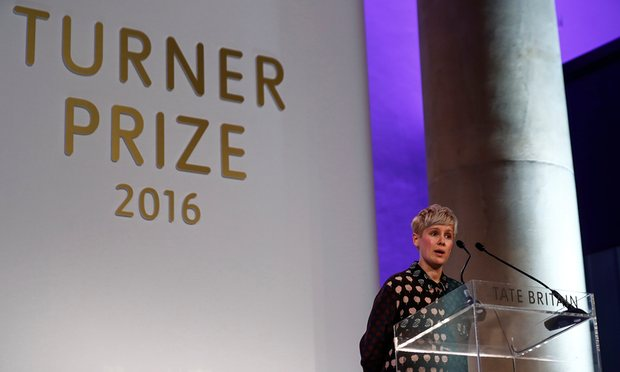 Helen Marten makes a speech after being announced as the winner of the Turner prize at the Tate Gallery in London.