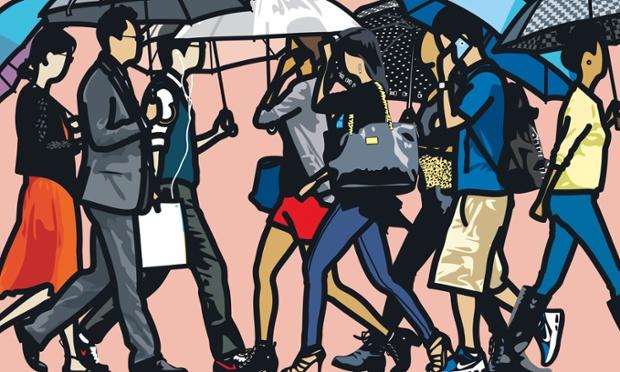 Walking in the rain, Seoul._2015~hi.jpg Julian Opie: 2012 - 2015  5th Jun 2015 - 18th Jul 2015 Courtesy Julian Opie and Alan Cristea Gallery.