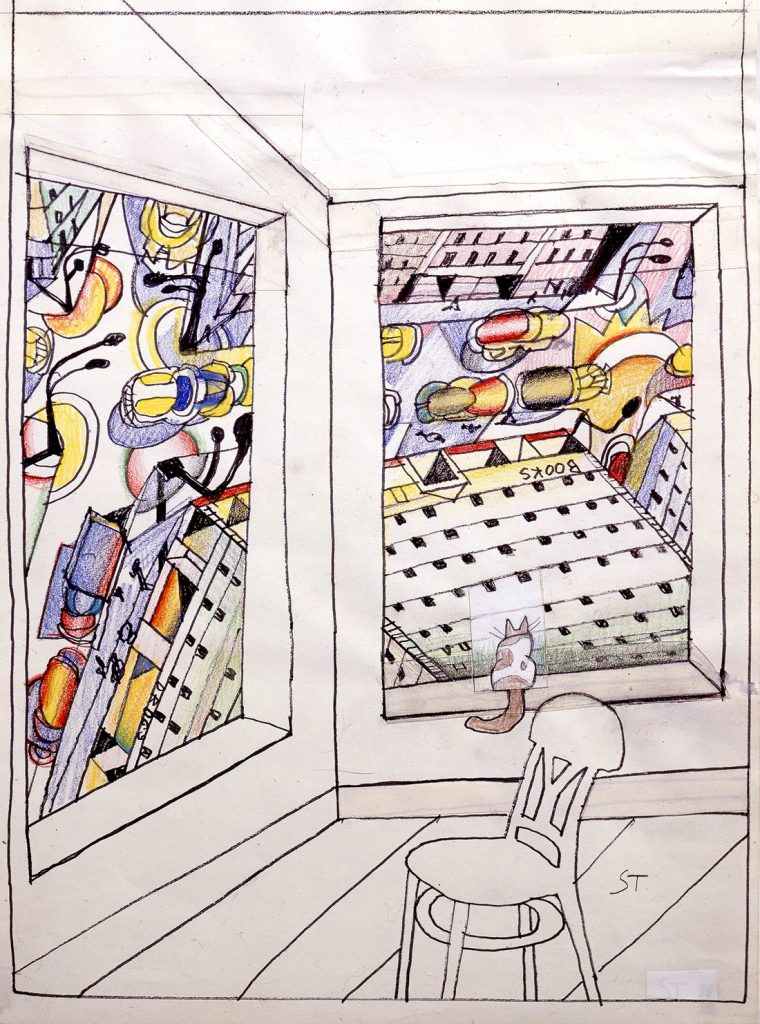 """Saul Steinberg, Looking Down, 1988, marker, crayon, colored pencil and conté crayon with collage on paper20"""" x 14"""" (50.8 cm x 35.6 cm). Drawing for """"The New Yorker"""" cover, February 28, 1994 © 2020 The Saul Steinberg Foundation / Artists Rights Society (ARS), New York"""