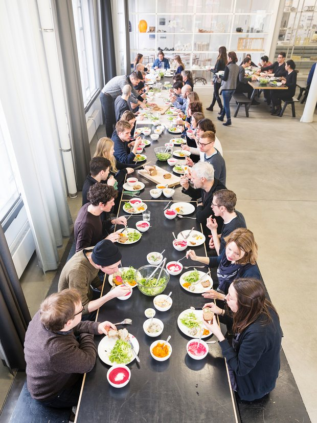 Olafur Eliasson (top of table) eating with staff at The Kitchen in his Berlin studio. Photograph: Thorsten Futh for the Guardian