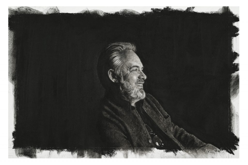 39:44:02 (Sam Mendes)  Charcoal on paper 29 x 44 cm By Nina Mae Fowler, 2019