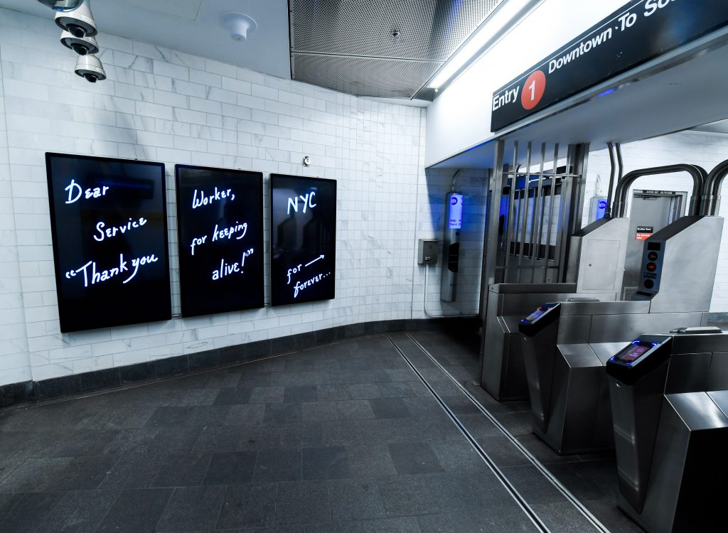 """""""Dear Service Worker"""" digital art project by artist Mierle Laderman Ukele debuts on Outfront customer information screens (CICs) and triptychs on Tue., September 8, 2020, as seen at the WTC Cortlandt station. Photo: Marc A. Hermann / MTA New York City Transit"""
