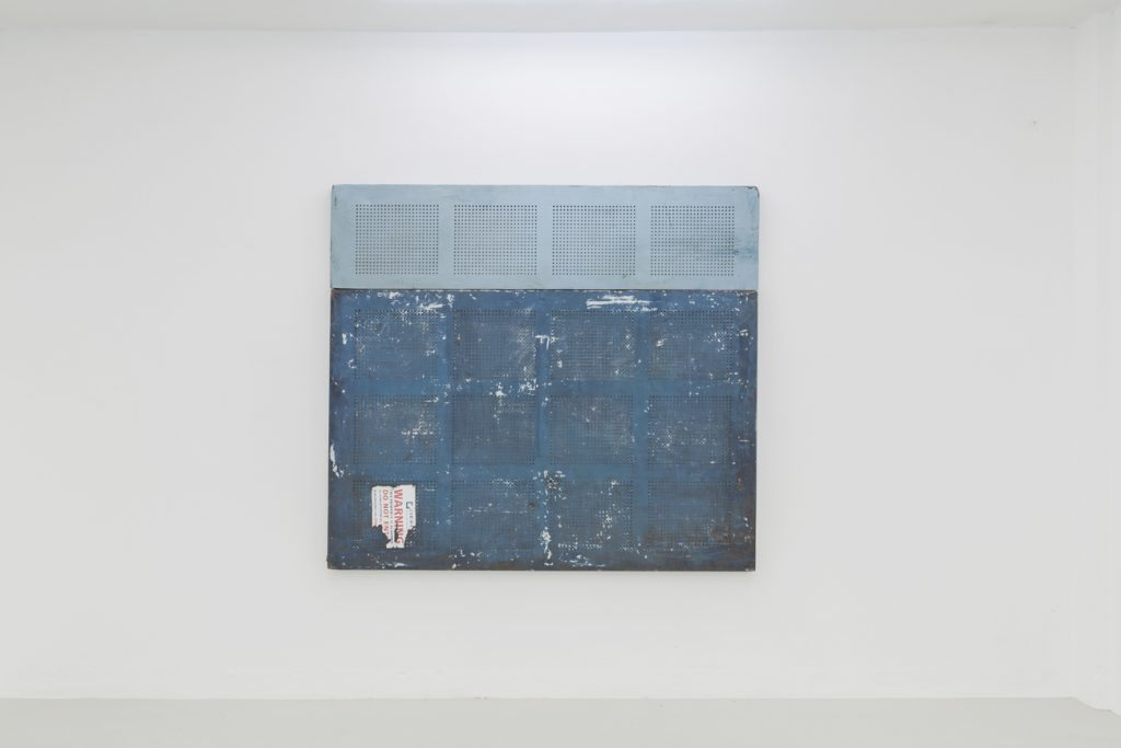 """Patrick Goddard, """"The Mediterranean (view to the north)"""", 2016, Orbis security shutters, 178 x 200 x 7cm. Courtesy of the artist and Almanac, London/Turin. Photo: Oskar Proctor"""