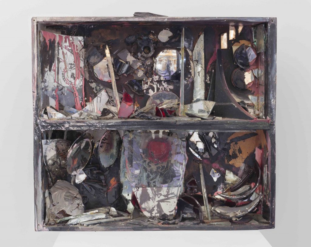 Carolee Schneemann, Controlled Burning: Fireplace, 1963–1964, Wooden box, glass, shards, burnt paint, adhesive. Courtesy of the Estate of Carolee Schneemann, Galerie Lelong & Co., Hales Gallery, and P•P•O•W, New York © Carolee Schneemann