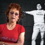 'What is she going to do, paint a vagina?' … Judy Chicago, in front of her boxing parody. Photograph: Donald Woodman