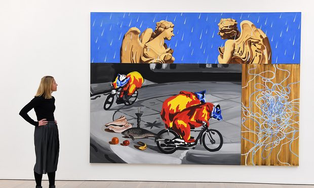 Could just as easily be painted on a wall in London or Cairo … David Salle's Angels in the Rain (1998) at the Saatchi gallery. Photograph: Andy Rain/EPA