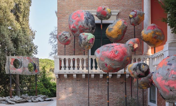 Boulders wearing makeup ... the exterior sculpture of Folly by Phyllida Barlow. Photograph: Ruth Clark/© British Council. Courtesy the artist and Hauser & Wirth