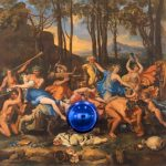 Jeff Koons, Gazing Ball (Poussin The Triumph of Pan), 2015–16, oil on canvas, glass, and aluminum, 63 1/2 × 68 1/4 × 14 3/4 inches (161.3 × 173.4 × 37.5 cm) © Jeff Koons