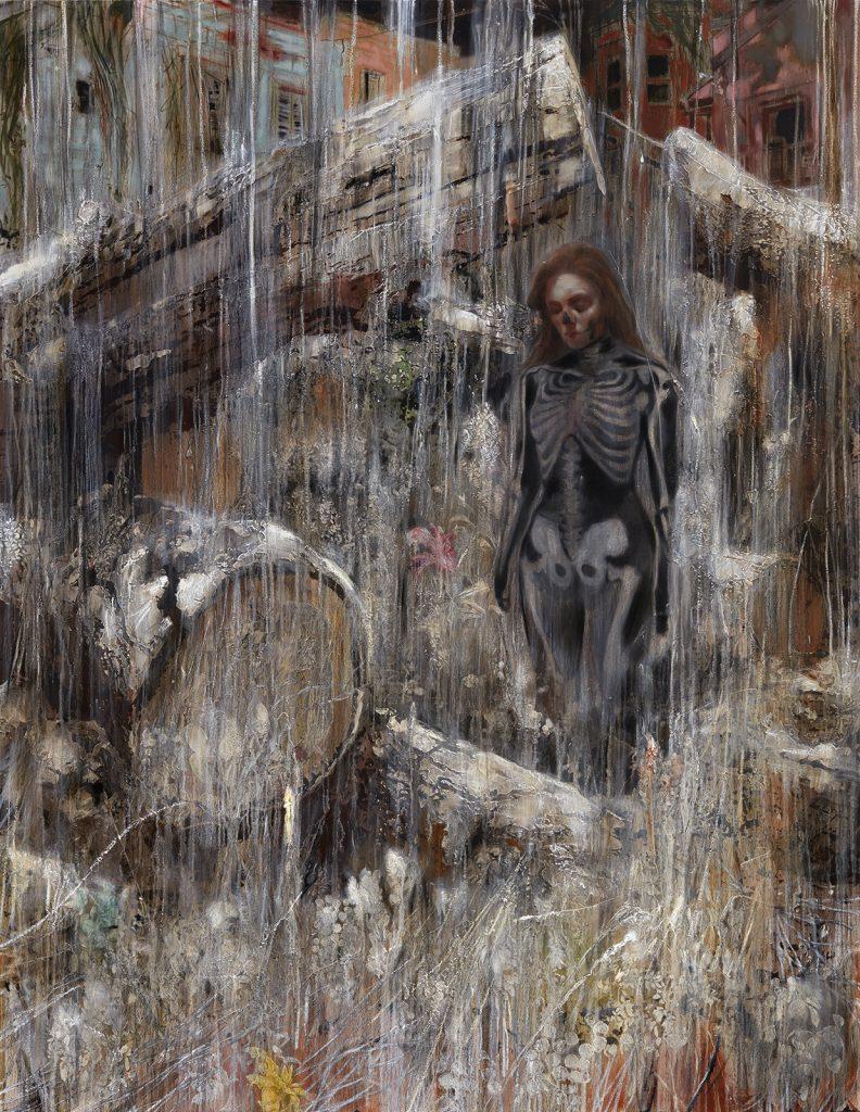 "Nigel Cooke Mexican Garden, 2016 Oil on Linen Backed with Sailcloth 232 cm x 180 cm x 5 cm (91-5/16"" x 70-7/8"" x 1-15/16"") © 2016 Nigel Cooke, courtesy Pace London"