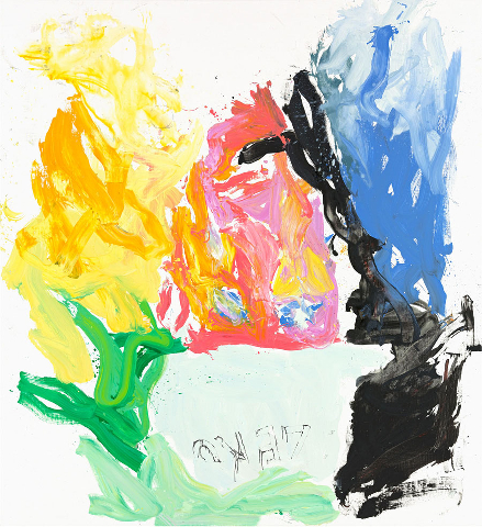 GEORG BASELITZ Licht wil raum mecht hern (Lef el rial bel), 2013 Oil on canvas 118 1/8 x 108 1/4 inches (300 x 275 cm) Photo by Jochen Littkemann