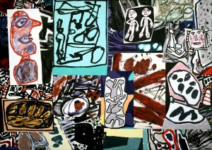 Jean Dubuffet Les données de I'instant, September 8, 1977 acrylic on glued paper mounted on canvas (31 sections) FAD magazine