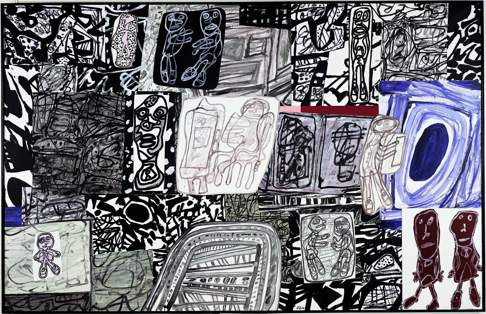 Jean Dubuffet Dramatisation, January 12, 1978 acrylic on glued paper mounted on canvas (42 sections) FAD magazine