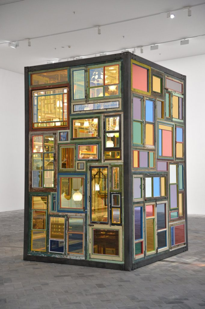 "Song Dong, Same Bed Different Dreams No. 3, 2018, steel, wooden windows/doors/beds, mirror, coated glass, lights, daily necessities, porcelain, 254.5 cm × 224.5 cm × 361 cm (8' 4-3/16"" × 88-3/8"" × 11' 10-1/8"") © Song Dong"