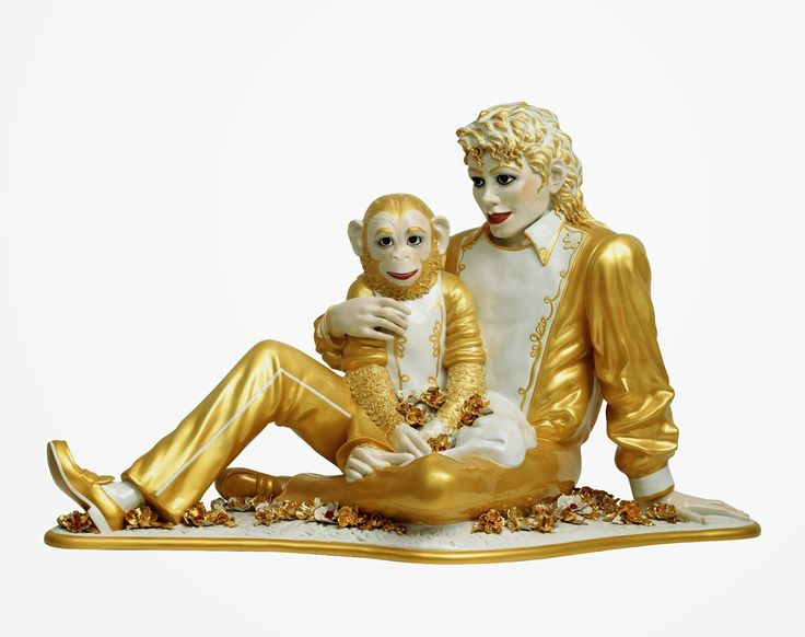 "Jeff Koons. ""Michael Jackson and Bubbles,"" 1988, porcelain. (Copyright Jeff Koons/Astrup Fearnley Collection; Courtesy David Zwirner)"
