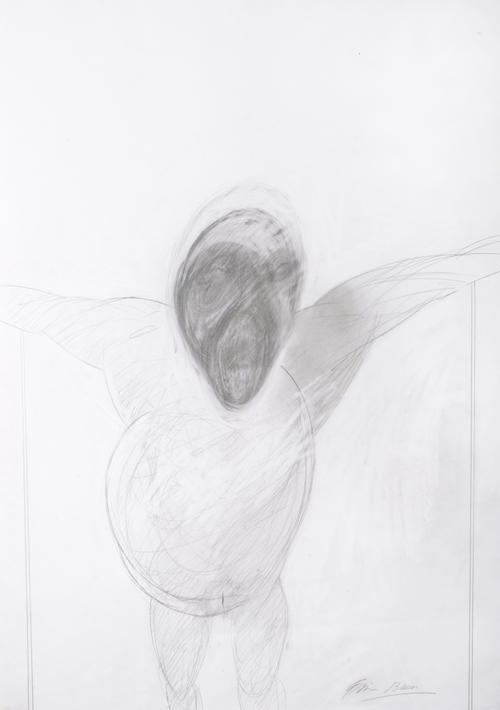 Untitled, (crucifixion ii) grease pencil and graphite drawing Fabriano paper (dry stamp) paper 100x70cm frame 118x88cm signed Francis Bacon