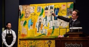 Basquiat's Untitles (Yellow Tar and Feathers) on the block at Sotheby's (Getty Images)
