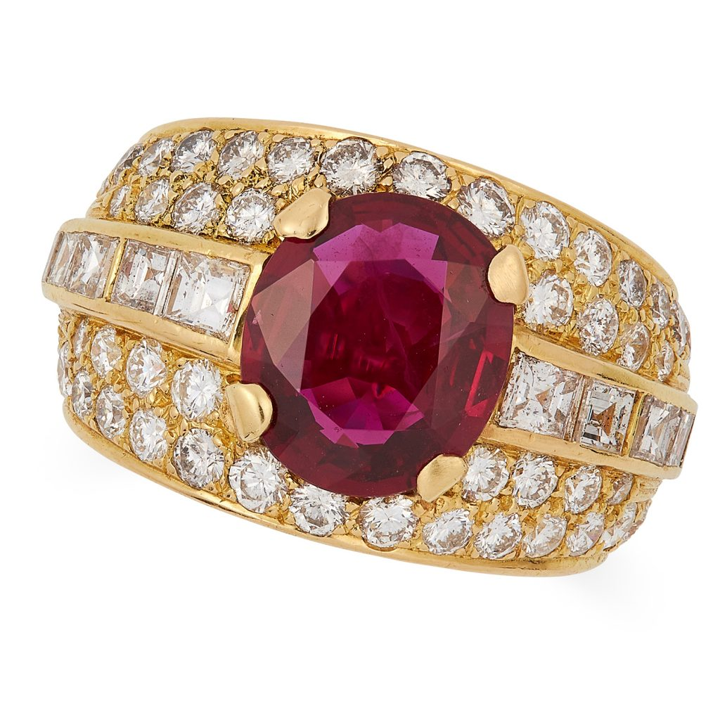 7.61 carat Burmese ruby set in Bulgari Tromboni ring, sells for 10x estimate at Elmwood's auction house.