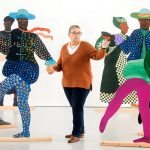 Lubaina Himid with her signature cut-out artworks, representing African slaves in 18th-century royal European courts. Photograph: Adrian Sherratt