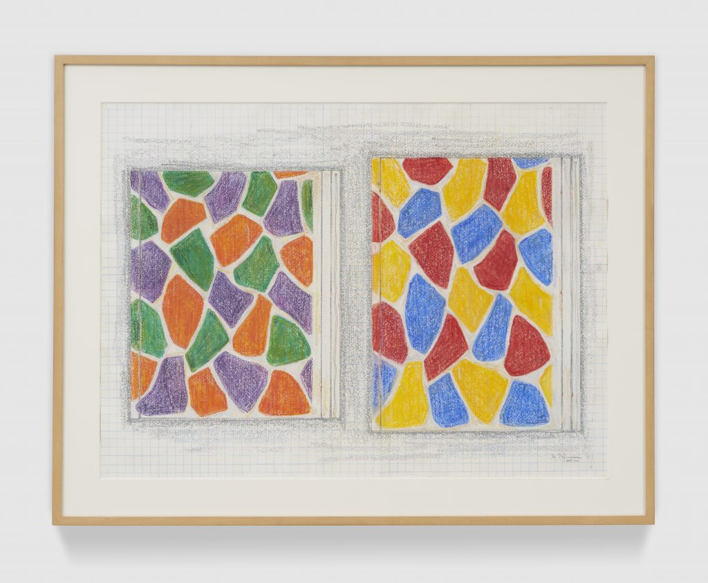 "Jasper Johns Two Paintings, 2006 pastel, graphite and colored pencil on paper 22-13/16"" × 31-1/8"" (57.9 cm × 79.1 cm) 28-1/2"" × 36-1/2"" × 1-1/2"" (72.4 cm × 92.7 cm × 3.8 cm), frame FAD MAGAZINE"
