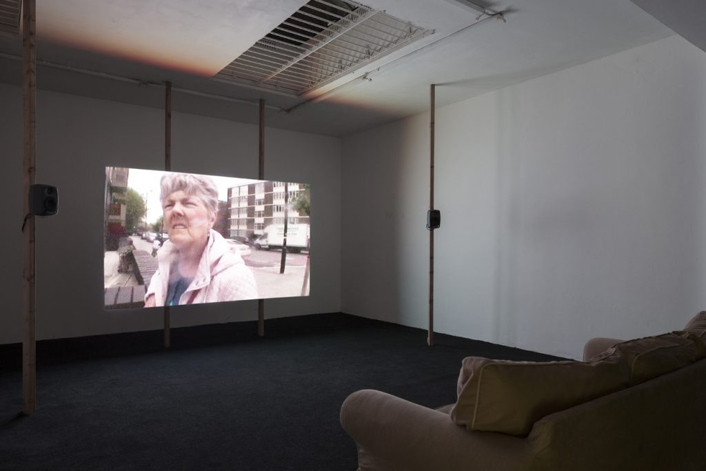"""Patrick Goddard, """"Looking for The Ocean Estate"""", 2016, SD digital file on LED video wall, 33'52"""" looping film. Courtesy of the artist and Almanac, London/Turin. Photo: Oskar Proctor"""