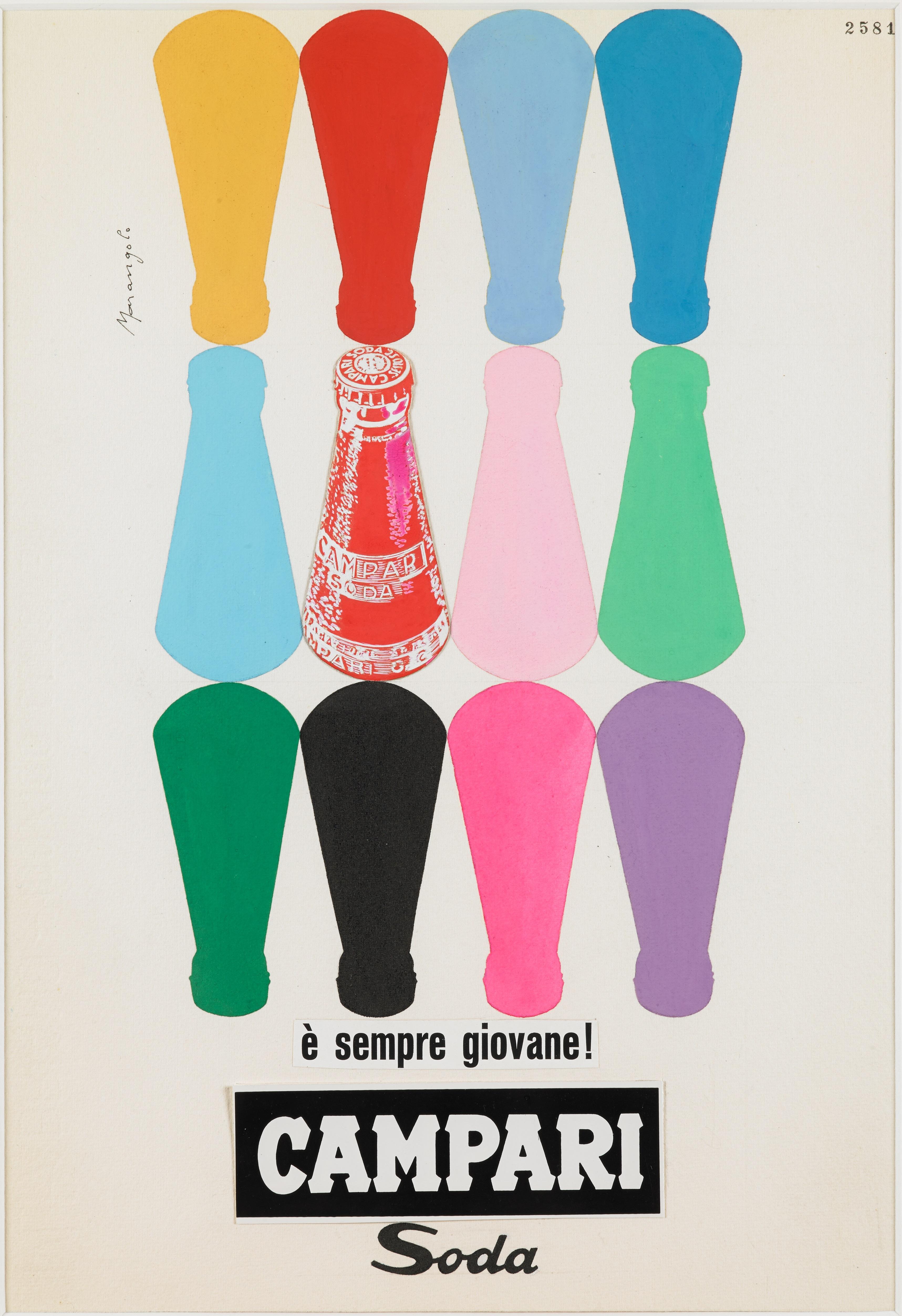 Franz Marangolo Campari Soda e? sempre giovane!, 1960s Campari Soda is always Young! Mixed Media