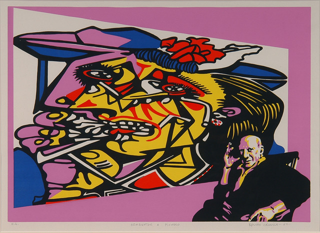 Equipo Crónica. Homenatge a Picasso, 1967. Litografía.  50 x 65 cm/ Courtesy Espacio Rodríguez-Aguilera
