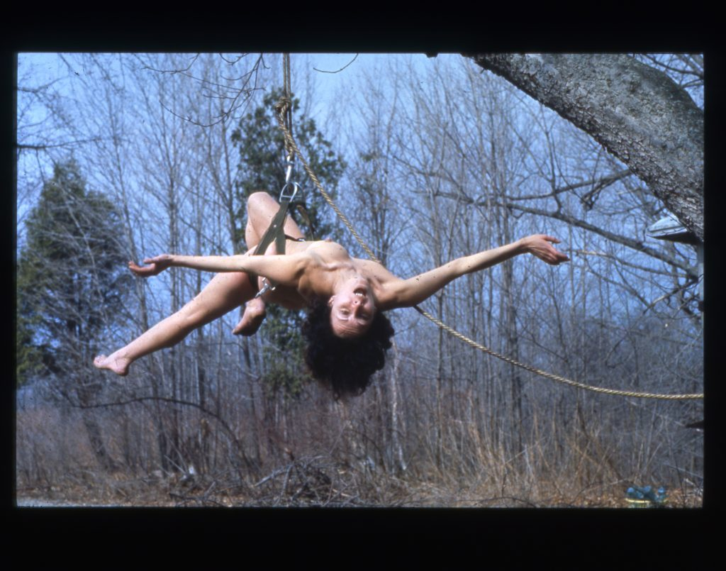 Study for Up to and Including Her Limits, New Paltz, NY, US, 1973, chromogenic print, photograph: Anthony McCall. Courtesy of the estate of Carolee Schneemann, Galerie Lelong & Co., Hales Gallery, and P·P·O·W, New York.