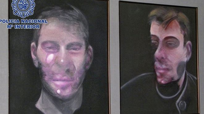 This double portrait was one of the five Bacon artworks stolen in Madrid (Spanish police photo, May 2016)