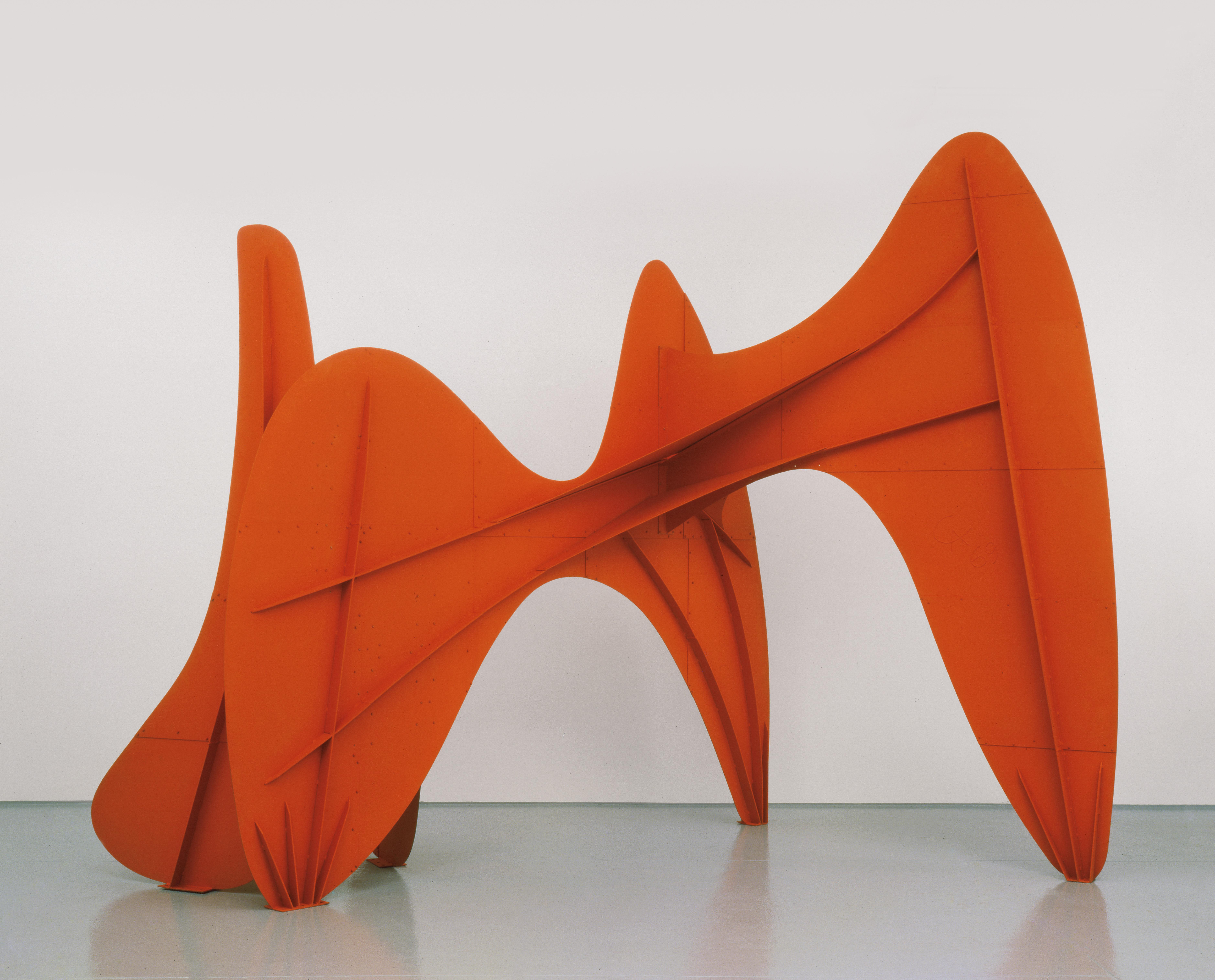 "La Grande vitesse (1:5 intermediate maquette). 1969. Sheet metal, bolts, and paint,  102"" x 135"" x 93"" (259.1 x 342.9 x 236.2 cm)."