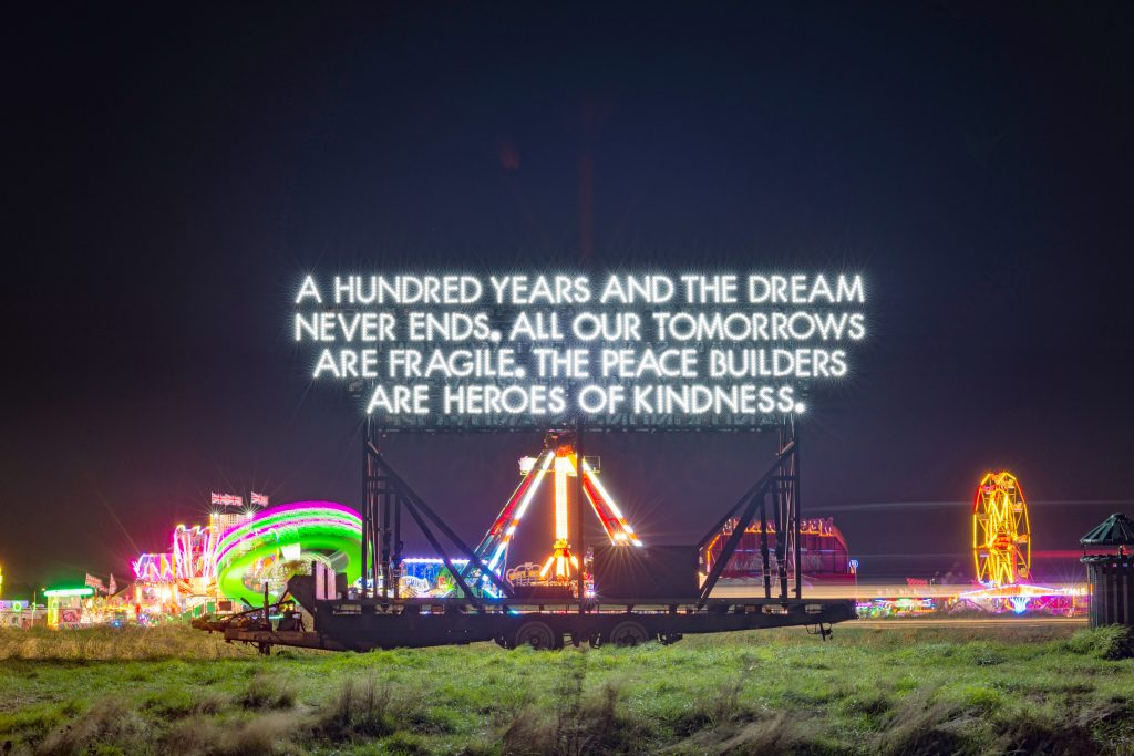 Year-long celebration of peace created by Emergency Exit Arts to launch with unveiling of large-scale mobile artwork by Robert Montgomery