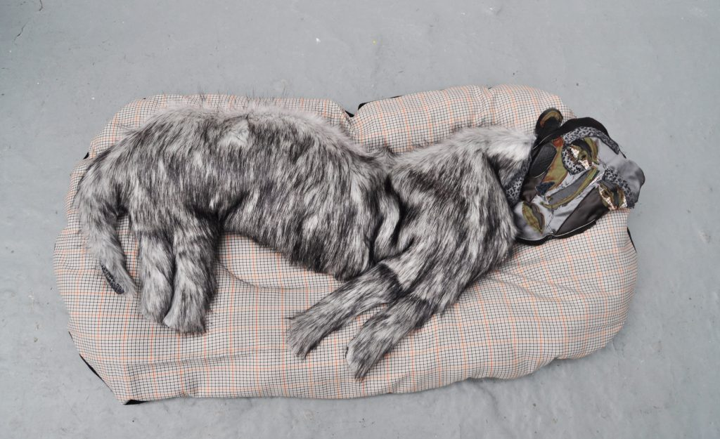 Alexander James, A.M-P.M, 2019-2020. Mixed media stitched onto fabrics with polyester and wadding, dimensions variable, unique. Courtesy of Roman Road and the artist