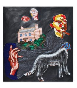 Alexander James, The House On The Hill, 2019-2020. Acrylic and fabric stitched onto canvas, 134 x 120 cm, unique. Courtesy of Roman Road and the artist
