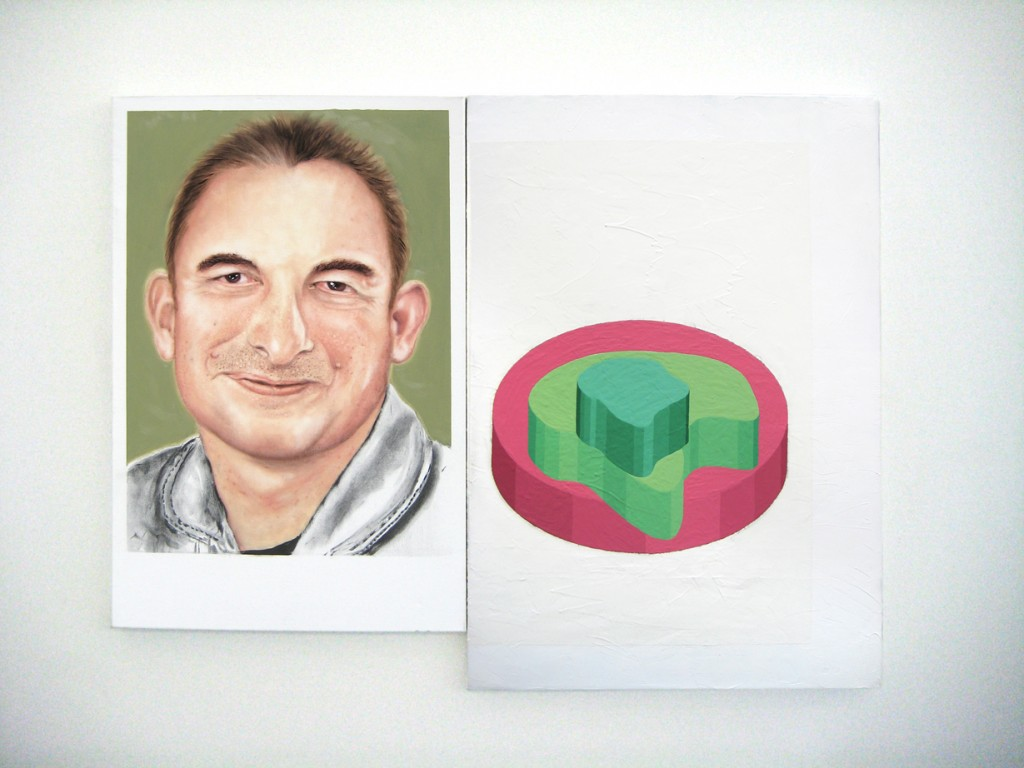 Amir Chasson, The Trap, 2010, oil and charcoal on linen and household paint on canvas