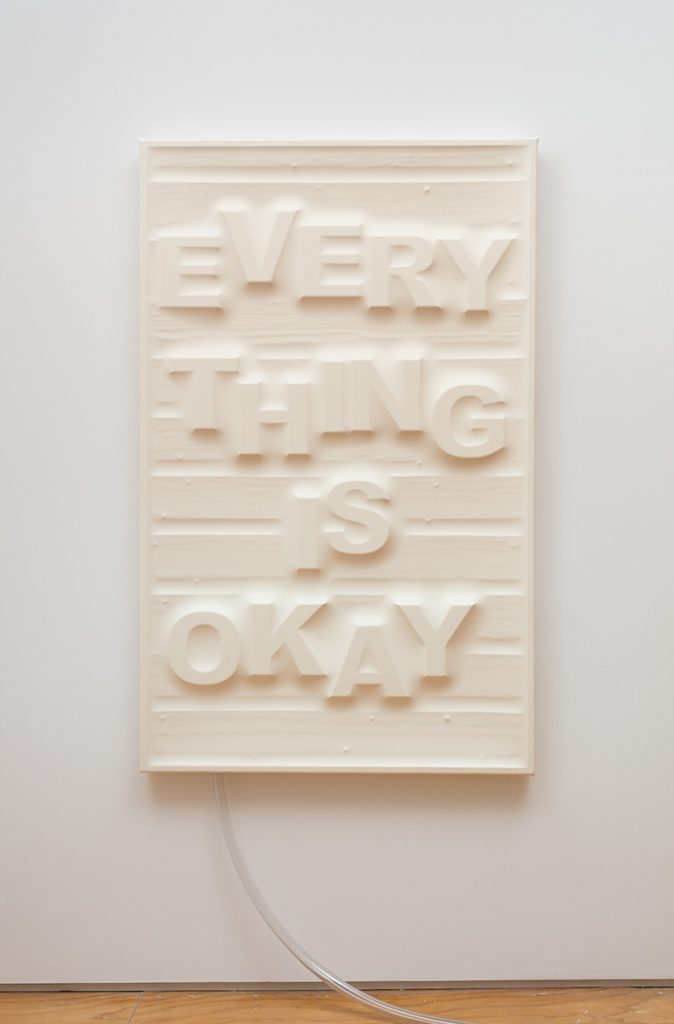 Antoine Catala, 'Don't Worry (Wood Panel)' (2017), latex, wood, foam, pump, 58 x 36 inches (147.32 x 91.44 cm) FAD MAGAZINE